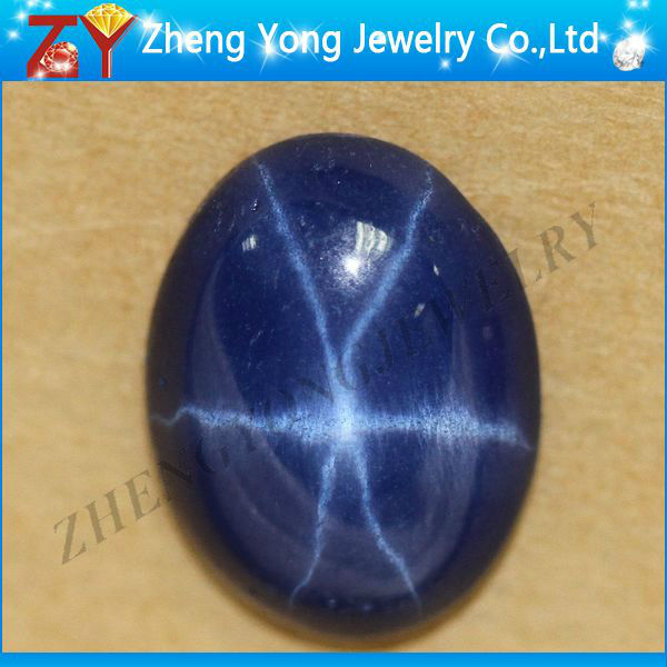 Factory price shining strong light loose synthetic star sapphire stone