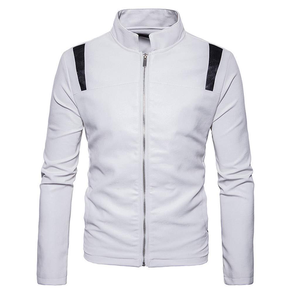 Mens Biker Jacket,Retro Stand Neck Symmetrical Stitching Leather Bomber Jacket Zipper Moto Pullover Coat Zulmaliu
