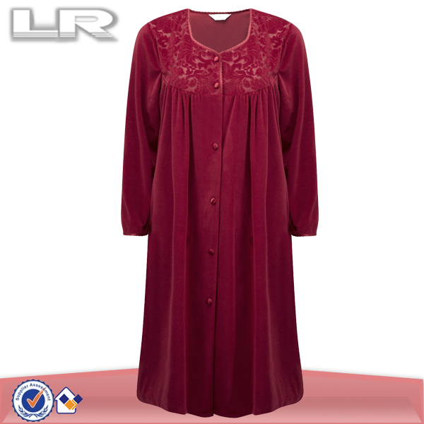 Cheap lady nightgown/women 100 cotton nightwear dressing gown knitwear/dressing coat