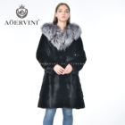 New hot sell fashion elegant long hooded fur mink fox coat women