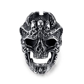 Vintage punk titanium steel skull head finger ring for men