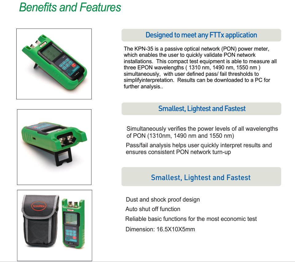 Komshine Kpn-35 Pon Optic Power Meter Equal To Jdsu Olp-35 Electric Power  Meter With Sc Upc Connector - Buy Optic Power Meter,Digital Power
