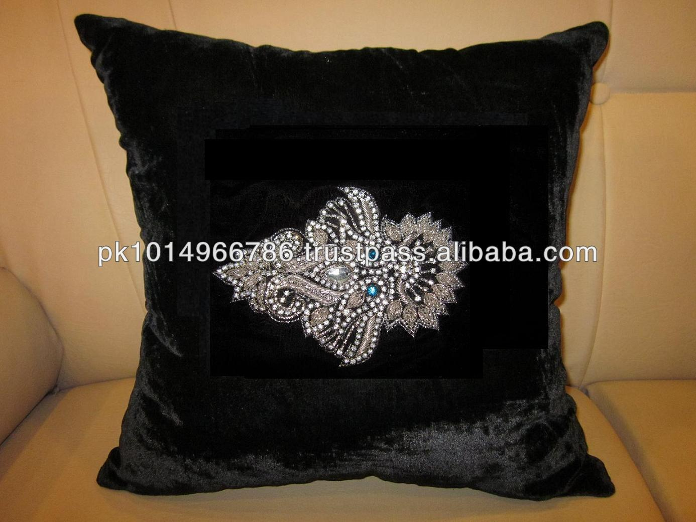 Cushion Cover Handmade Embroidered Sequins Beaded New