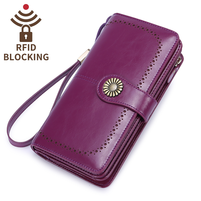 Long wallet women genuine leather large capacity handmade zipper pocket for coin lady purse with RFID blocking