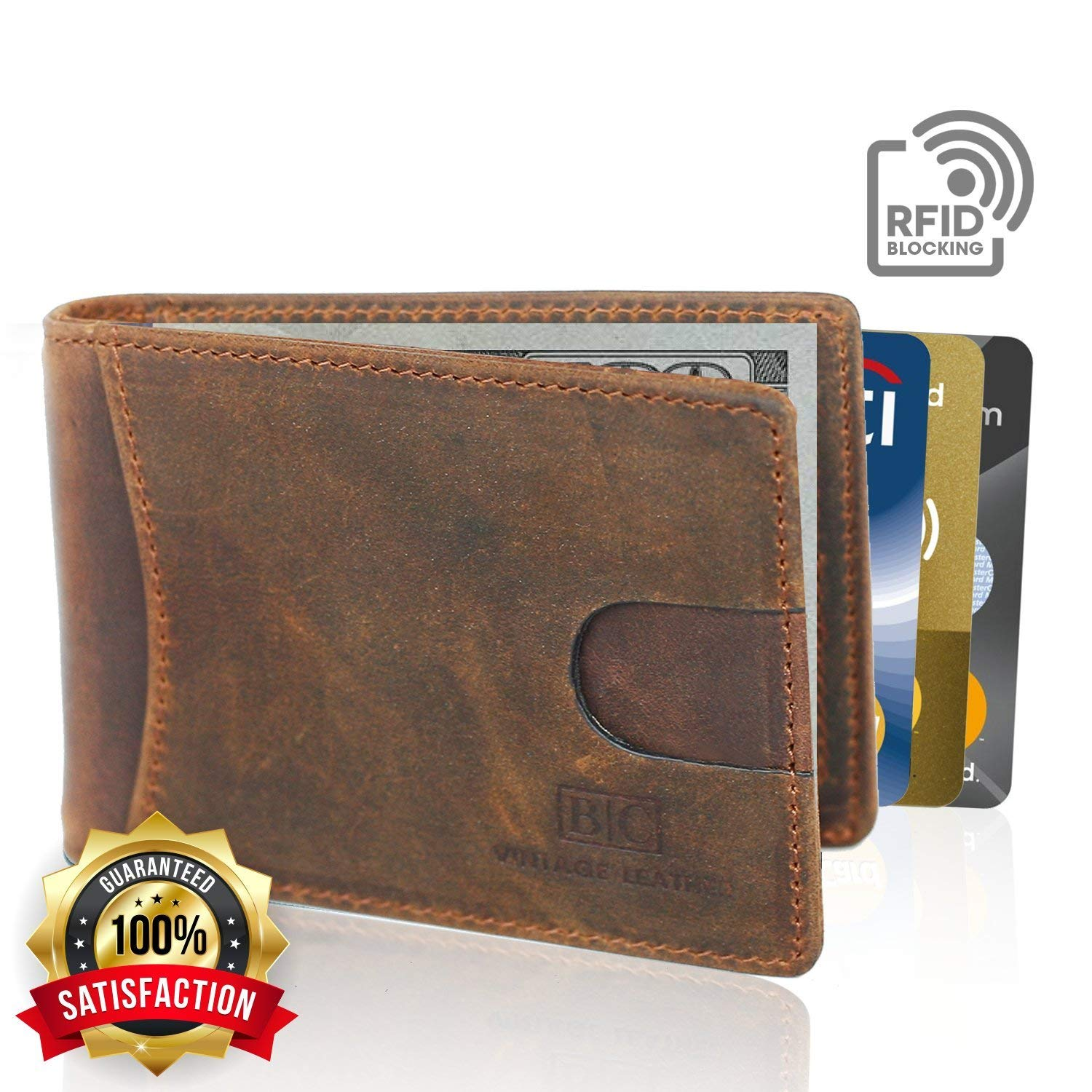 B C Vintage Leather – Mens Slim Minimalist Style Wallet - Ultra Thin RFID Blocking Mens Genuine Leather Billfold with Money Clip and ID window – Holds 10 Bills Cash & 8 Cards