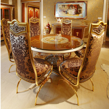 Luxury French Baroque Style Dining Room Sets Clic Golden Wood Carving Round Table With