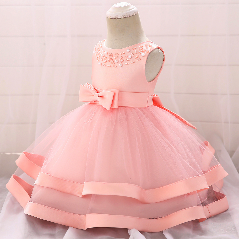 2019 princess skirt wrought solid color beaded piping girls wedding fluffy baby children's dress
