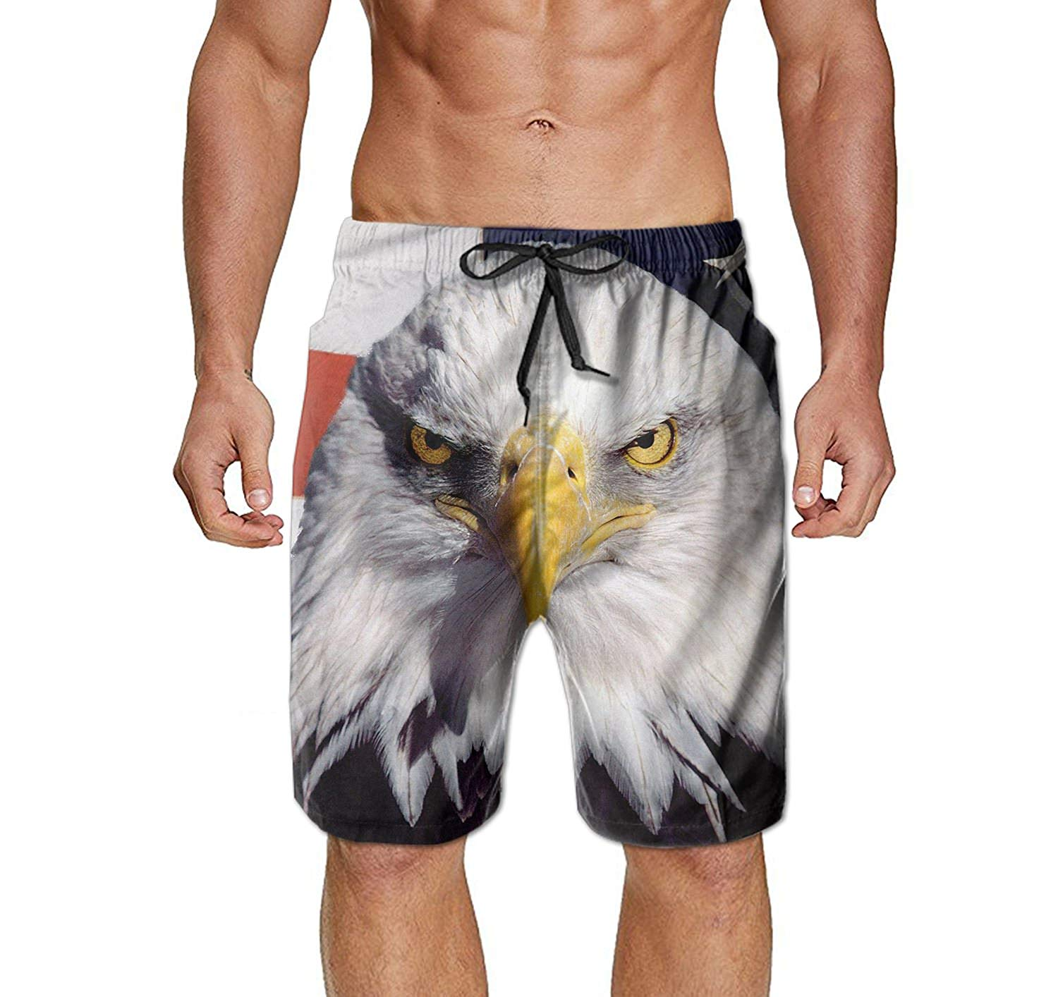 98d2550a77 Get Quotations · Men's Bald Eagle and American Flag Swim Trunks Beach Shorts  Board Shorts