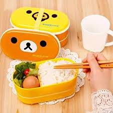 Brown Microwave Rilakkuma Bento Yellow Microwave Nostrils Chickens Multilayer Children Lunch Box HOT with Chopsticks (Brown Bear)