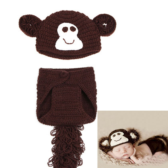 Get Quotations · Latest Baby Monkey Design Photo Props Set Infant Kids Animal  Hats Baby Crochet Hat Pants Set fff0c96a4a48