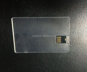 DIY Logo Print on paper stick on Blank Transparent Credit Card USB2.0 Memory Stick Flash Pendrive