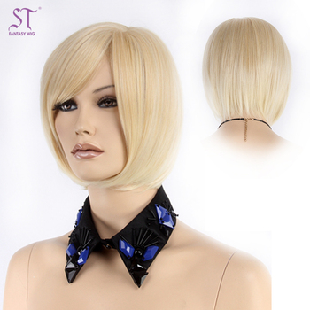 Lady Bob Cut Platinum Blonde Short Hair Wigs For Small Heads Buy