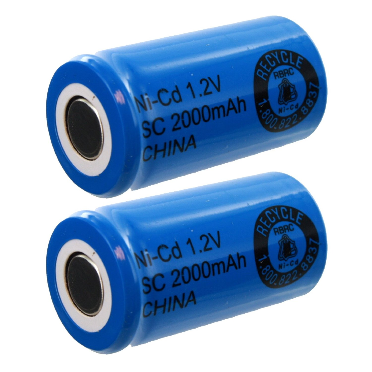 2x Exell SubC 1.2V 2000mAh NiCD Flat Top Rechargeable Batteries for medical instruments/equipment, electric razors, toothbrushes, radio controlled devices, electric tools