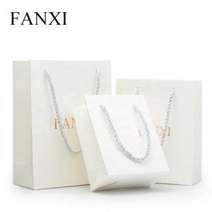 FANXI Custom White Craft Paper Bags With handle For Jewellery Cosmetic Watch Packaging Christmas Gift Shopping Jewelry Paper Bag