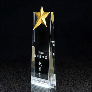 Stars Crystal Trophy Awards Export Wholesale Clear White Glass Engraved with Black Base