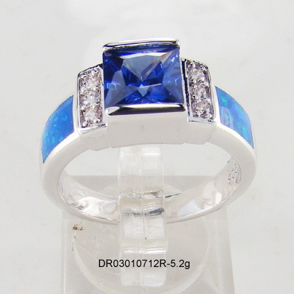 Tanzanite Cz With Opal Ring,Australian Fire Opal Jewelry,925 ...