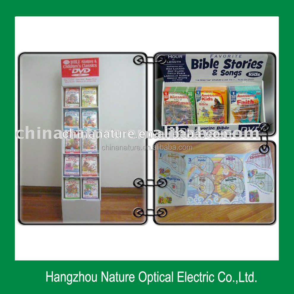 High Quality CD/DVD/VCD Cardboard Book Display Stand Printing