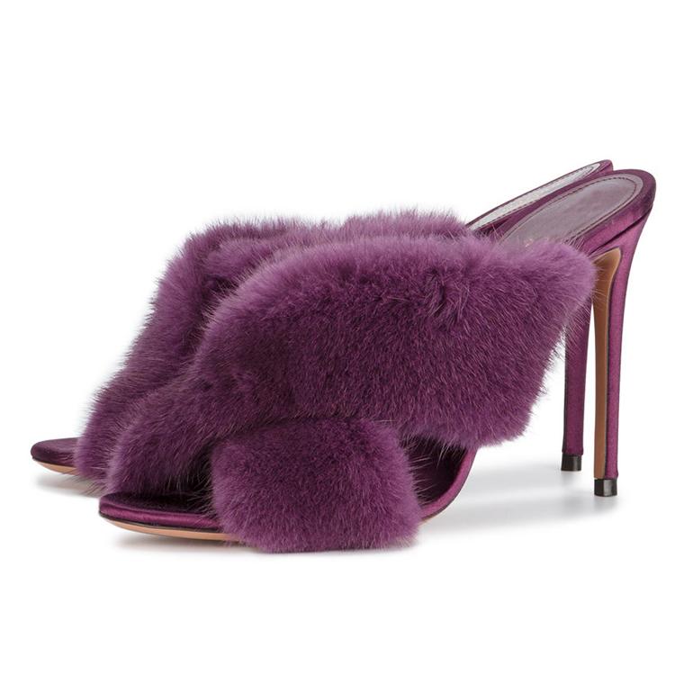 fluffy mule slippers heel