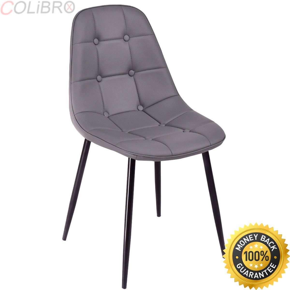 COLIBROX--Set of 4 Dining Chair PU Leather Armless Metel Leg Tufted Accent Chair Gray. armless accent chair. best grey cheap tufted dining chairs amazon. tufted dining chair set of 4.