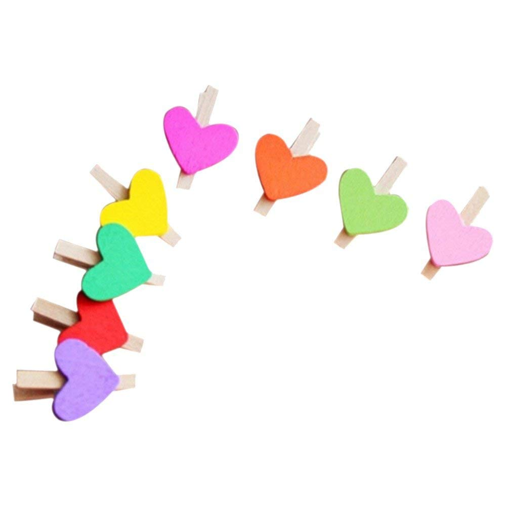 SODIAL(R) Mini Sweet Love Heart Shape Wooden Clips Message Photo Holder Card Paper Pegs Decor Photography Random Color(15 Pcs)