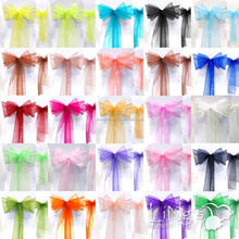 Premium Wedding Chair Sash Organza Chair Sashes Bow For Christmas Party Decoration