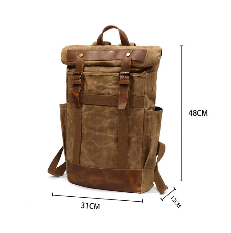 Waterproof hiking waxed canvas leather designer outdoor leisure back pack backpack rucksack bag for teenager