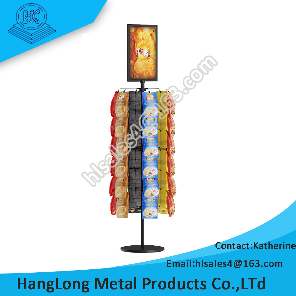 commercial rotating potato chip display rack stand