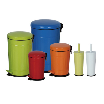 Round Step Trash Can Foot Pedal Dustbin Bathroom Storage Bin Cleaning Toilet Brush Holder Metal Garbage Bin with Lid