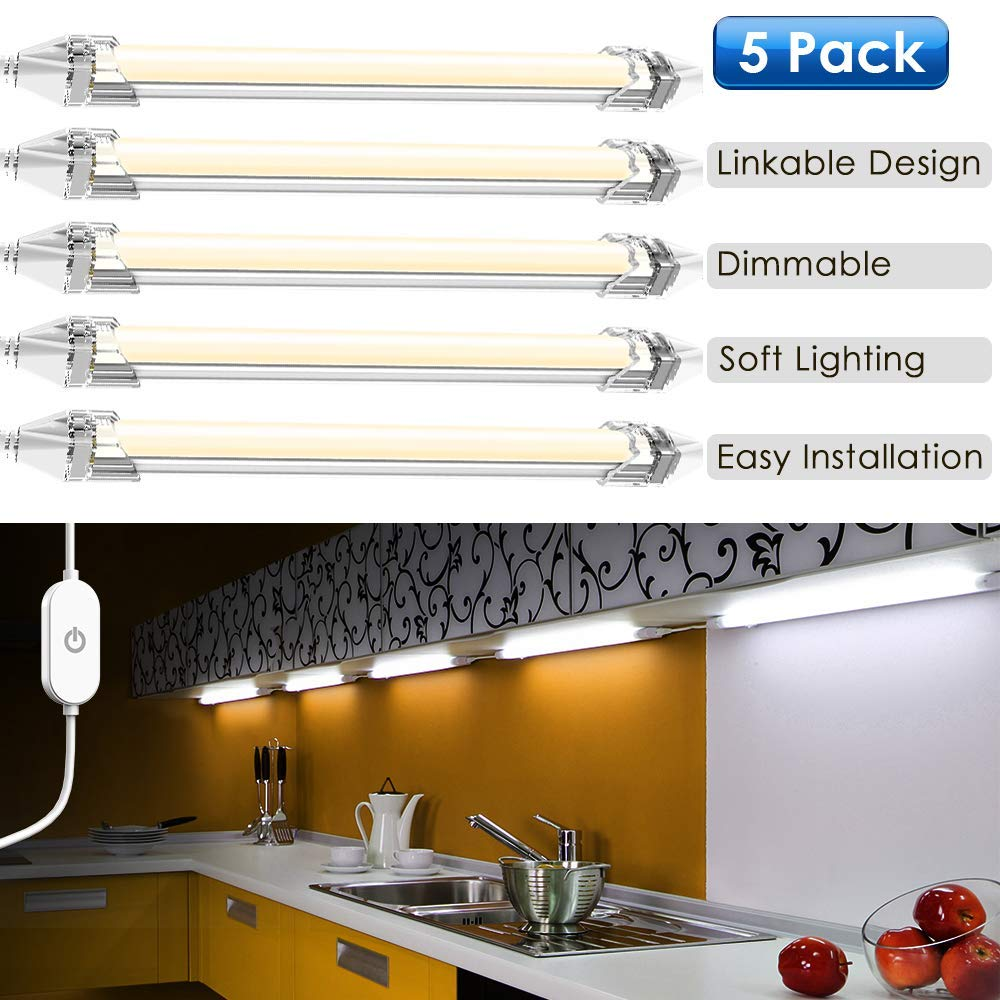 LED Under Counter Lighting Fixtures Plug in, 5 PCS LED Under Cabinet Lighting Daylight White 5000K Super Bright, Dimmable DIY installation Linkable for Kitchen Counter Cabinet (5 Bars Kit)
