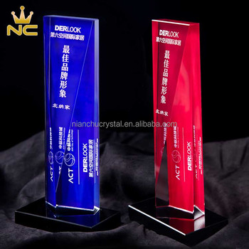 Color Printed Back Side Blue Red Crystal Trophies And Awards For Corporate Gifts