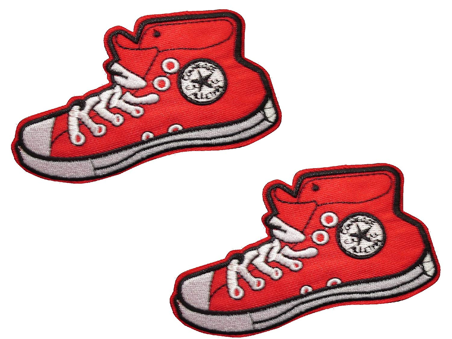RED SNEAKER SHOES Iron On Patch * Lot of 2 pieces * Applique Motif Children Decal 4.5 x 2.6 inches (11.3 6.5 cm)