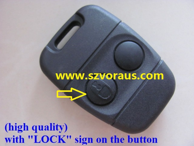 "New replacement for La 2 button remote case (high quality) with ""LOCK"" sign on the button/Key blank"