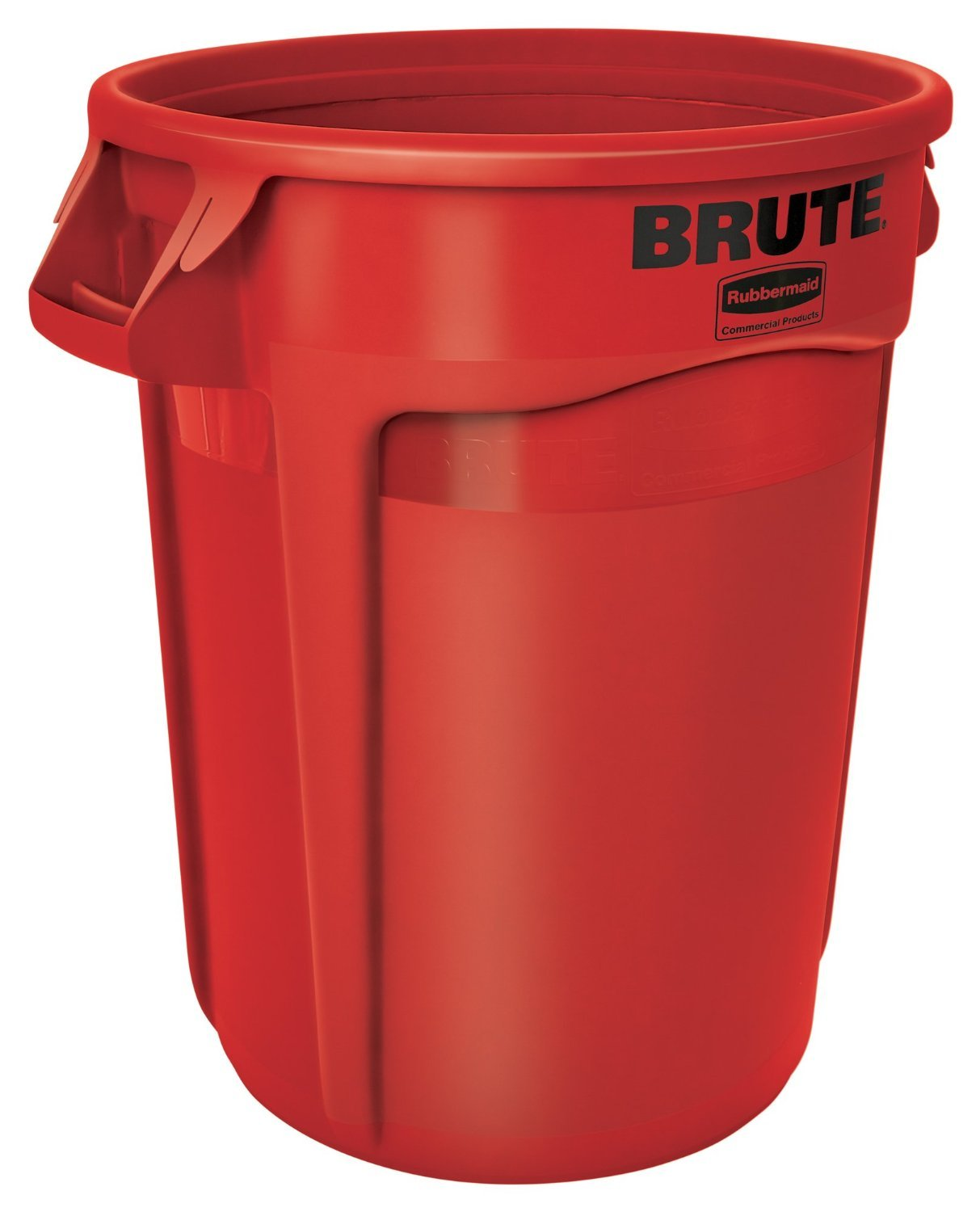 Rubbermaid Commercial BRUTE Heavy-Duty Round Waste/Utility Container with Venting Channels, 32-gallon, Red (FG263200RED)