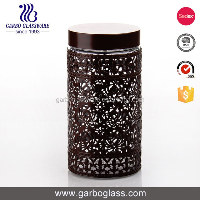 Large glass candy jars with plastic sealed lid