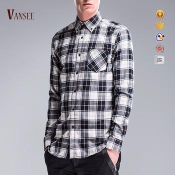 bc84bedcb Street Casual Gray White Black Plaids Flannel Shirts Big Black Check ...