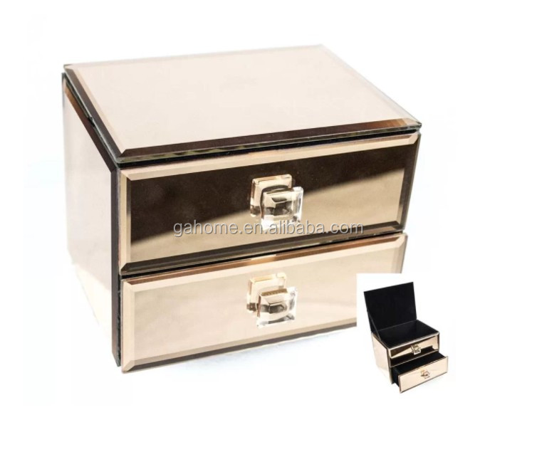Home bedroom lady champagne mirrored  jewelry box with storage drawers