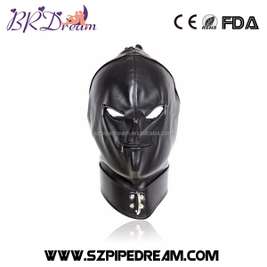 Bdsm Bondage Cap Pu Leather Mask Slave Open Mouth And Eye Hood Toys For Couple Adult Head Gear Products