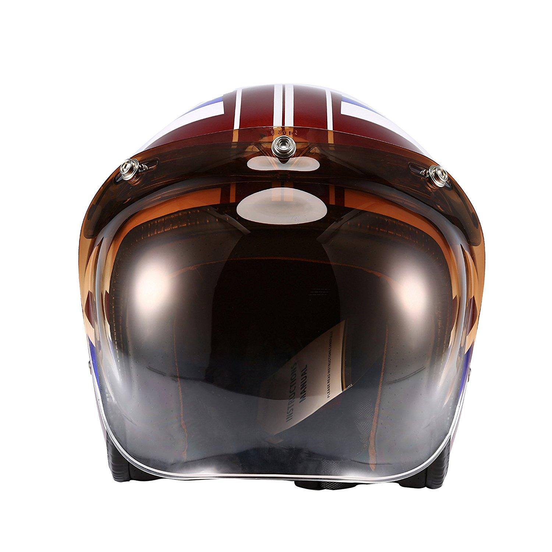 09627553 Get Quotations · Autvivid Motorcycle Bubble Helmet Shield Smoke Tint Bubble  Shield Motor 3-Snap Flip Up Face