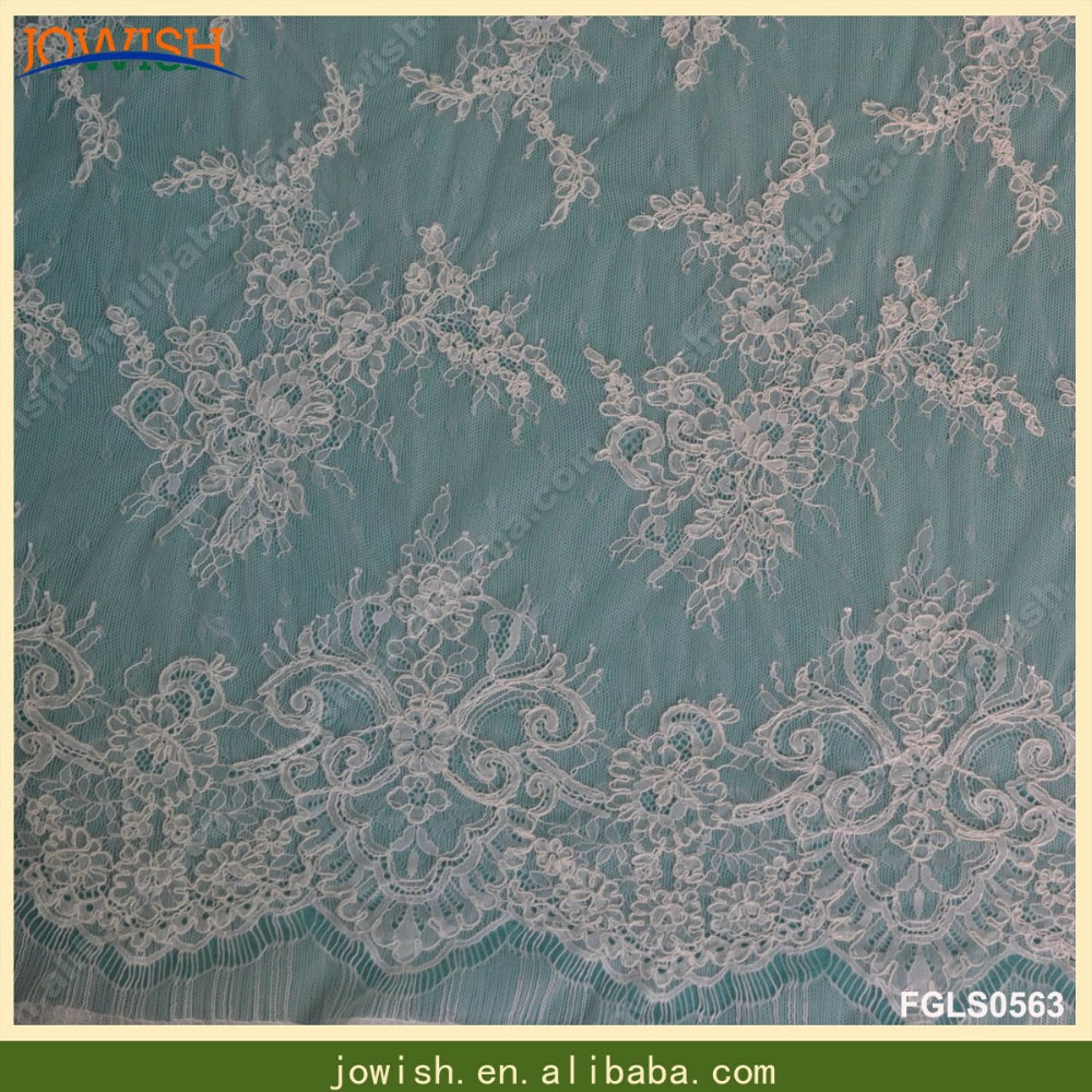 High quality french lace fabric with cord bridal lace fabric embroidery