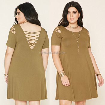 Spandex Wholesale Clothing Women Plus Size Crisscross Dress With