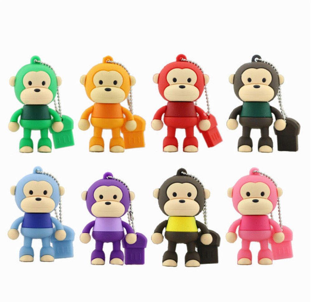 Hot Sale Cartoon Cute Monkey USB Flash Drive Pendrive 4GB 8GB 16GB USB Stick External Memory Storage Pen Drive