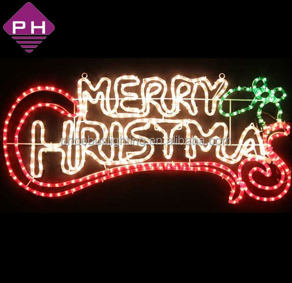 Ip65 Rope Merry Christmas Lighted Signs Outdoor