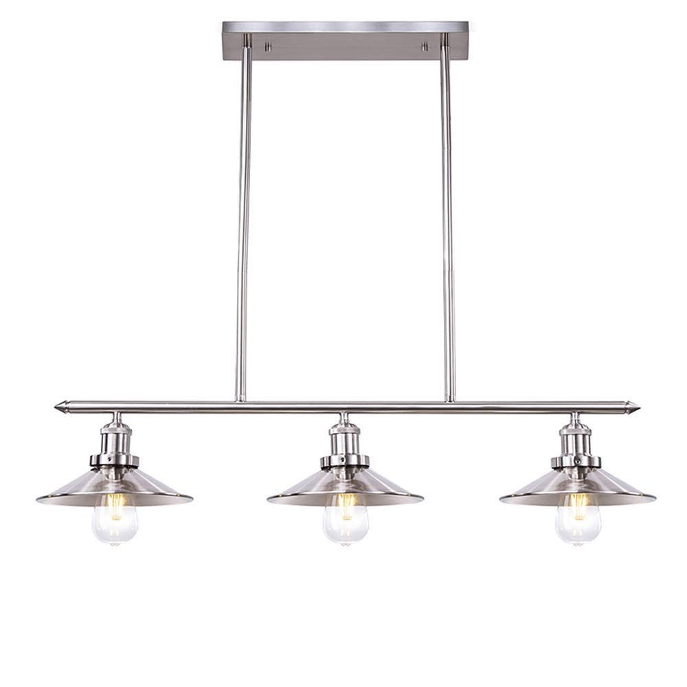 Get quotations · wellmet modern kitchen light fixtures with brushed nickel finish chrome 3 lights kitchen island