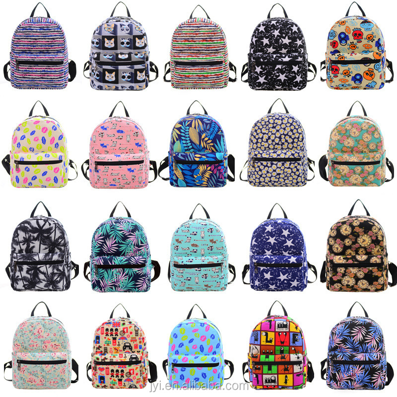 Wholesale custom children printed cotton canvas backpack