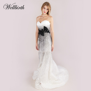 Chinese simple strapless mermaid trumpet style wedding dresses flower lace white black lace wedding dress