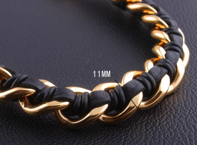 153332c15ac2 Mano de cuero pulsera de acero inoxidable con cadena para hombre de acero  inoxidable pesado de