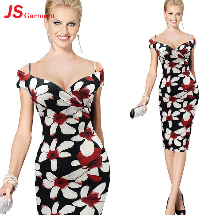 JS 20 Expert Salesmen Up-To-Date Styling Bodycon Dress 2017 Women Floral Printing Bandage Dress