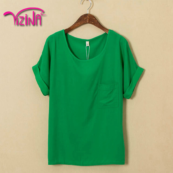 Beautiful ladies lime green t shirt with pocket