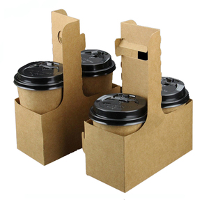 Disposable packaging Kraft paper handle take away coffee cup tray