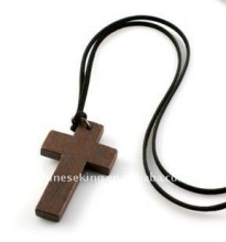 fashion wood cross charm necklace, fashion wax rope necklace, west style